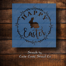 Load image into Gallery viewer, Happy Easter stencil, happy easter with wreath and bunny stencil, Spring stencil, reusable craft stencil, Stencil for sign making