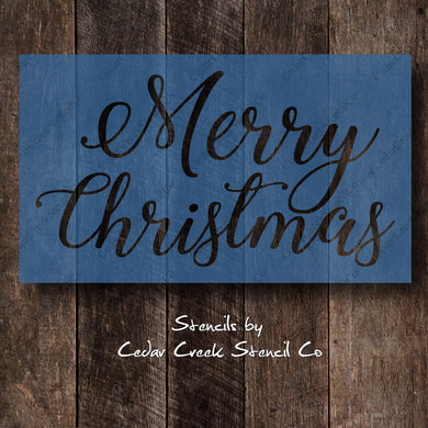 Christmas Stencil, Merry Christmas stencil, Holiday Stencil, DIY Christmas Crafts Stencil, DIY Christmas decor, reusable 7mil mylar stencil - Cedar Creek Stencil Co.