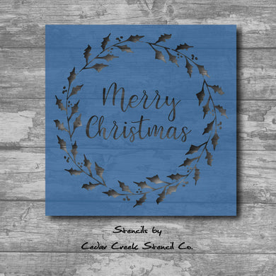 Merry Christmas Wreath Stencil, Reausable Stencil, Christmas Stencil, Holiday Stencil, 7mil mylar stencil, sign stencil, Pillow stencil - Cedar Creek Stencil Co.