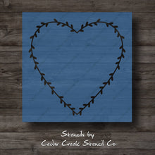 Load image into Gallery viewer, Valentine's Day Heart Wreath Stencil, Wreath Stencil, Heart Stencil, Reusable Stencil, Craft Stencil For painting signs, DIY Project - Cedar Creek Stencil Co.
