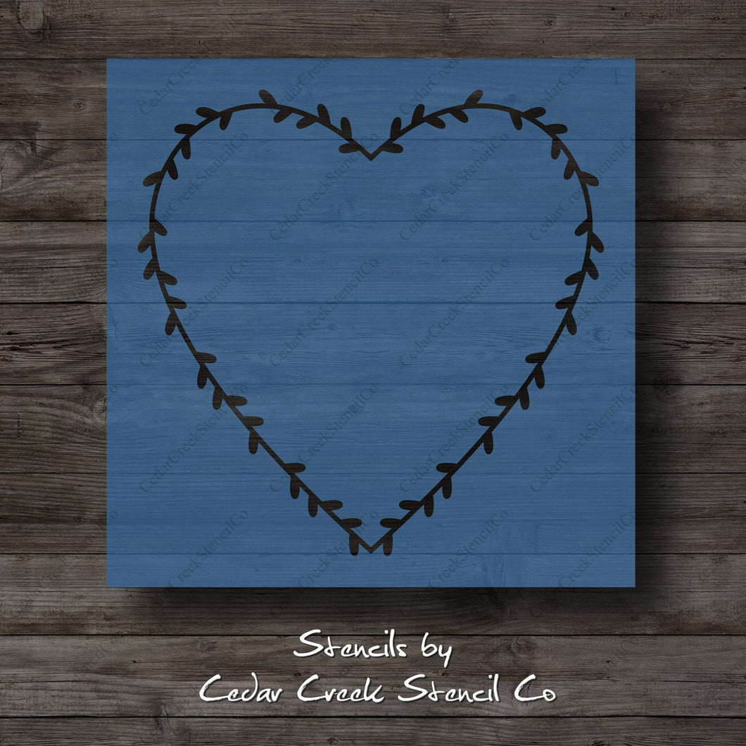 Valentine's Day Heart Wreath Stencil, Wreath Stencil, Heart Stencil, Reusable Stencil, Craft Stencil For painting signs, DIY Project - Cedar Creek Stencil Co.