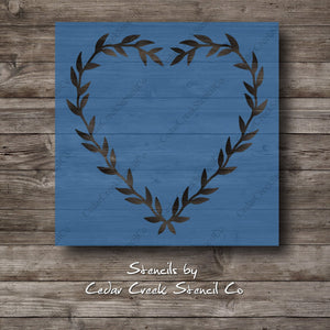 valentines Heart Wreath Stencil, Love Wreath Stencil, Valentines day stencil, Stencil For Sign Making, Reusable stencils, Heart Stencil - Cedar Creek Stencil Co.