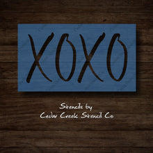 Load image into Gallery viewer, XOXO stencil, Valentines Day Stencil, hugs and kisses reusable stencil, washable stencil, craft stencil for sign making, Wedding Stencil - Cedar Creek Stencil Co.