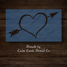 Load image into Gallery viewer, Heart with arrow stencil, Valentines Day Stencil, reusable stencil, washable stencil, craft stencil for sign making, DIY Valentines craft - Cedar Creek Stencil Co.
