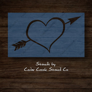 Heart with arrow stencil, Valentines Day Stencil, reusable stencil, washable stencil, craft stencil for sign making, DIY Valentines craft - Cedar Creek Stencil Co.