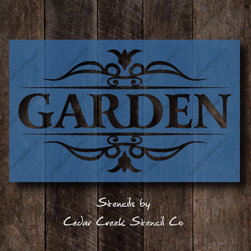 Garden Stencil, Fancy Garden Stencil, Word Stencil, Reusable Mylar stencil, spring stencil, craft stencil, sign making stencil - Cedar Creek Stencil Co.