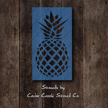 Load image into Gallery viewer, Pineapple Stencil, Reusable Stencil, Fruit Stencil, Craft stencil for painting, sign making stencil, pineapple decor, kids room stencil - Cedar Creek Stencil Co.