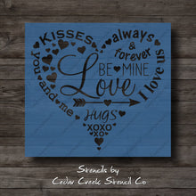 Load image into Gallery viewer, Valentines Day Heart Typography Stencil, Subway Word Collage Stencil, Reusable Stencil, Craft Stencil for Sign making, Love stencil - Cedar Creek Stencil Co.