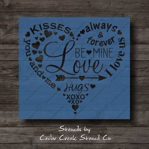 Valentines Day Heart Typography Stencil, Subway Word Collage Stencil, Reusable Stencil, Craft Stencil for Sign making, Love stencil - Cedar Creek Stencil Co.