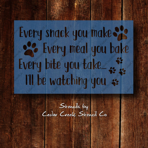 Funny Pet Stencil, Dog Stencil, Cat Stencil, Reusable mylar stencil, Craft Stencil for sign making, pets stencil, Kitchen Stencil - Cedar Creek Stencil Co.