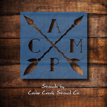 Load image into Gallery viewer, Camp stencil with arrows, Reusable camping stencil, outdoors stencil, adventure stencil, craft stencil for sign making - Cedar Creek Stencil Co.