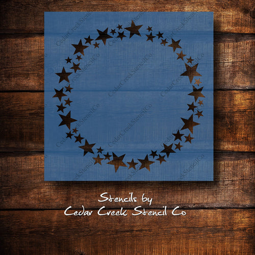 Star Wreath Stencil, Star Stencil, Patriotic Stencil, 4th of July Stencil, Independance Day Stencil, Craft stencil for sign making - Cedar Creek Stencil Co.