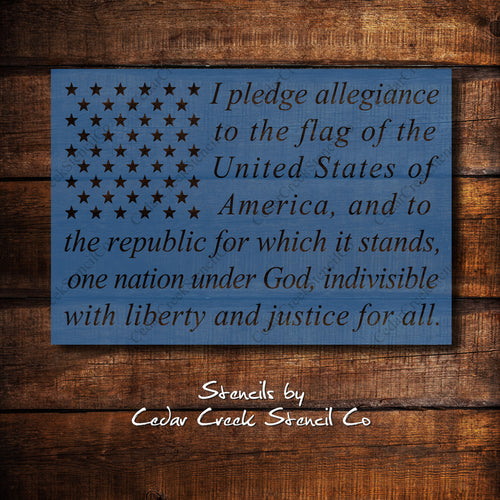 Pledge of Allegiance flag stencil, Patriotic Stencil, 4th of July Stencil, Independence Day Stencil, Reusable Craft stencil for sign making - Cedar Creek Stencil Co.