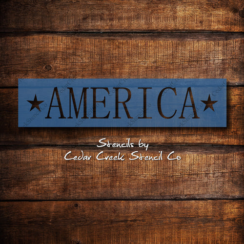 America Stencil, Word Stencil,  patriotic stencil, 4th of July stencil, reusable 7mil blue mylar stencil, Independence Day Craft Stencil - Cedar Creek Stencil Co.
