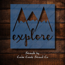 Load image into Gallery viewer, Explore Stencil, Mountains Stencil, Nursery decor stencil, Sign making craft stencil, reusable mylar stencil - Cedar Creek Stencil Co.
