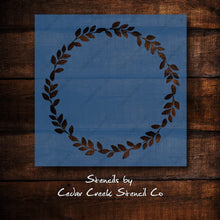 Load image into Gallery viewer, Wreath Stencil, Reusable Stencil, Craft stencil, foliage wreath stencil, DIY Sign making Stencil, Pillow Stencil, Chalk Stencil, 7mi mylar - Cedar Creek Stencil Co.