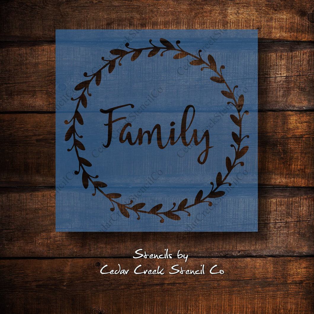 Family wreath stencil, reusable wreath stencil, family stencil, farmhouse decor stencil, craft stencil for sign making, 7mil mylar stencil - Cedar Creek Stencil Co.