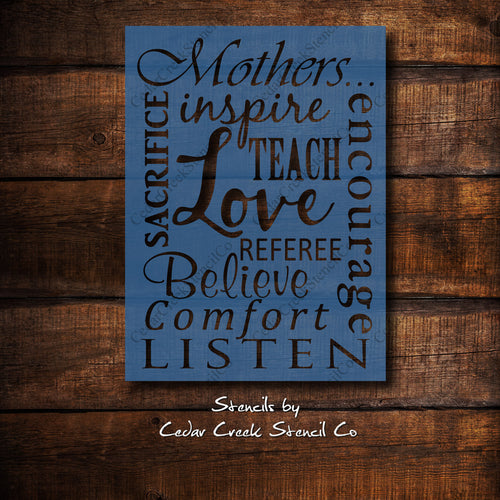 Mother's Day Stencil, Mothers inspire tech love etc., Mother's day typography stencil, reuseable craft stencil for sign making - Cedar Creek Stencil Co.