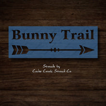 Load image into Gallery viewer, Bunny Trail Stencil, Reusable Easter Stencil, Sign making stencil, Cract Stencil, Easter Bunny Stencil with arrow, Spring Stencil - Cedar Creek Stencil Co.