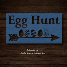 Load image into Gallery viewer, Easter Stencil, Egg Hunt Stencil, Easter Egg Stencil, Reusable craft stencil for sign making, Easter Egg hunt directional arrow stencil - Cedar Creek Stencil Co.