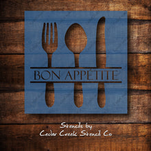 Load image into Gallery viewer, Bon appetit stencil, Kitchen stencil, reusable craft stencil, french stencil, diy kitchen decor stencil, craft stencil for sign making - Cedar Creek Stencil Co.