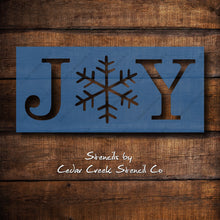 Load image into Gallery viewer, Joy Stencil, Christmas Stencil, Joy with Snowflake Stencil, Reusable 7mil mylar stencil, paint craft stencil, sign making stencils - Cedar Creek Stencil Co.