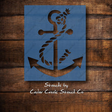 Load image into Gallery viewer, Anchor with rope Stencil, beach themed stencil, nautical stencil, reusable stencil, sign making stencil, diy craft stencil, paint stencil - Cedar Creek Stencil Co.