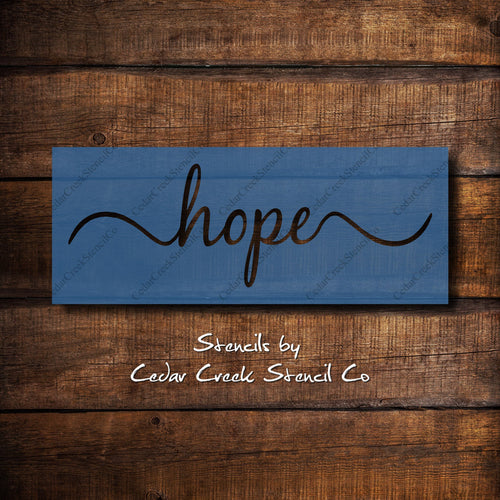 Hope word stencil, reusable craft stencil, sign making stencil, DIY decor, paint sign making stencil, DIY craft supply, hope stencil - Cedar Creek Stencil Co.