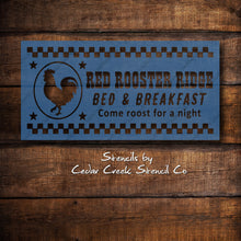 Load image into Gallery viewer, Red Rooster Bed and Breakfast Farmhouse Stencil, Reusable Stencil, Chicken Stencil, Primitive DIY Sign Making Stencil, Rustic Craft Stencil - Cedar Creek Stencil Co.