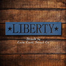 Load image into Gallery viewer, Liberty Stencil, Word Stencil,  patriotic stencil, 4th of July stencil, reusable 7mil blue mylar stencil, Independence Day Craft Stencil - Cedar Creek Stencil Co.