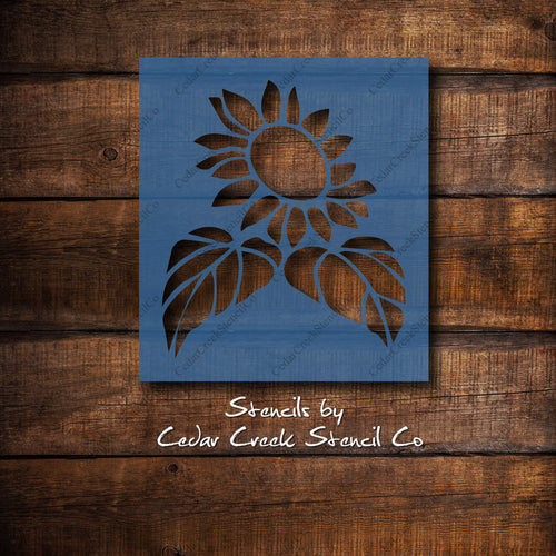 Sunflower stencil, reusable flower stencil, fall stencil, autumn stencil, paint stencil craft stencil, diy sign making stencil - Cedar Creek Stencil Co.