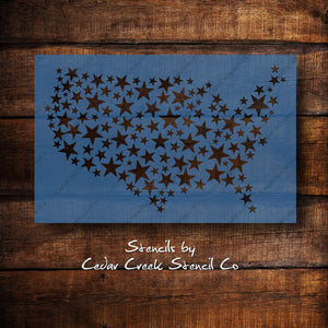 Star USA map stencil, Patriotic star stencil, 4th of July stencil, Independence Day stencil, Reusable craft stencil for sign making - Cedar Creek Stencil Co.