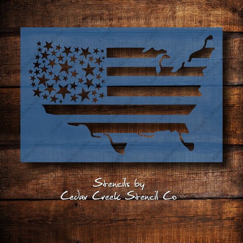 USA map flag stencil, stars and stripes map flag, Patriotic stencil, 4th of July stencil, Independence Day stencil, Reusable craft stencil - Cedar Creek Stencil Co.