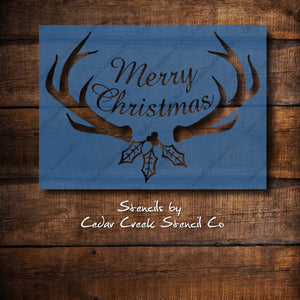 Merry Christmas Antlers Stencil, Reusable stencil, Paint Stencil, Rustic Christmas, Christmas Craft Stencil, DIY Christmas Decor Stencil - Cedar Creek Stencil Co.