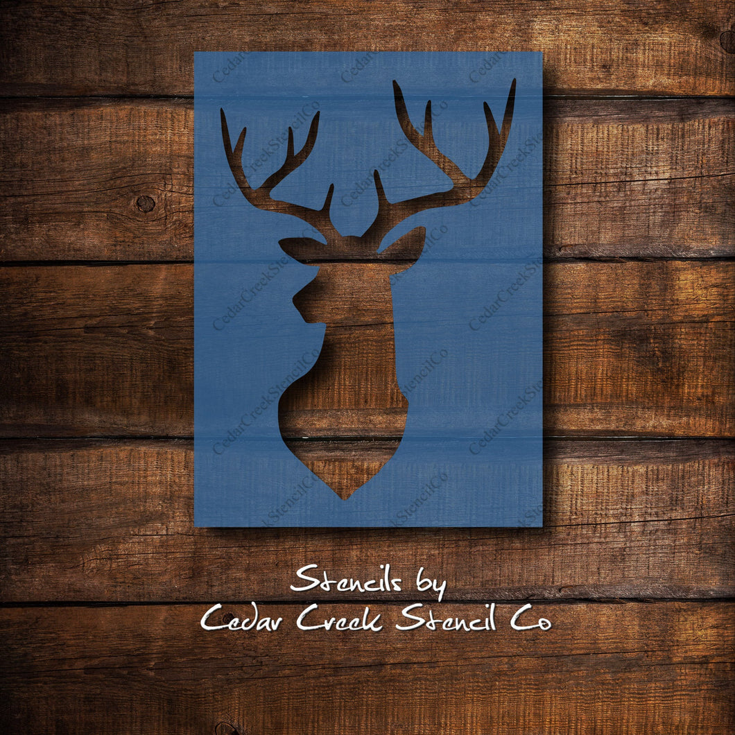 Buck head Stencil, Deer Stencil, Deer Head, Buck Head, Deer Silhouette Stencil, Reusable Woodland Stencil, Animal Stencil, Craft Stencil - Cedar Creek Stencil Co.