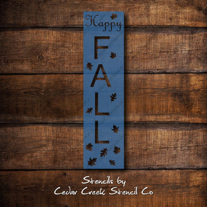 Large Happy Fall reusable craft sign stencil, diy craft stencil, porch sign stencil, happy fall decor stencil, fall stencil, sign making - Cedar Creek Stencil Co.