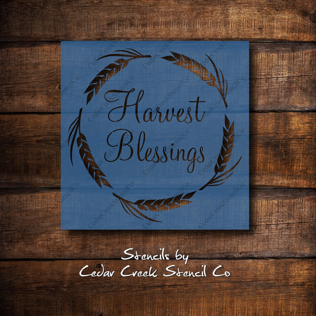 Harvest Blessings Stencil, Fall Stencil, Autumn Stencil, reusable stencil, washable stencil, craft stencil, paint stencil, sign stencil - Cedar Creek Stencil Co.