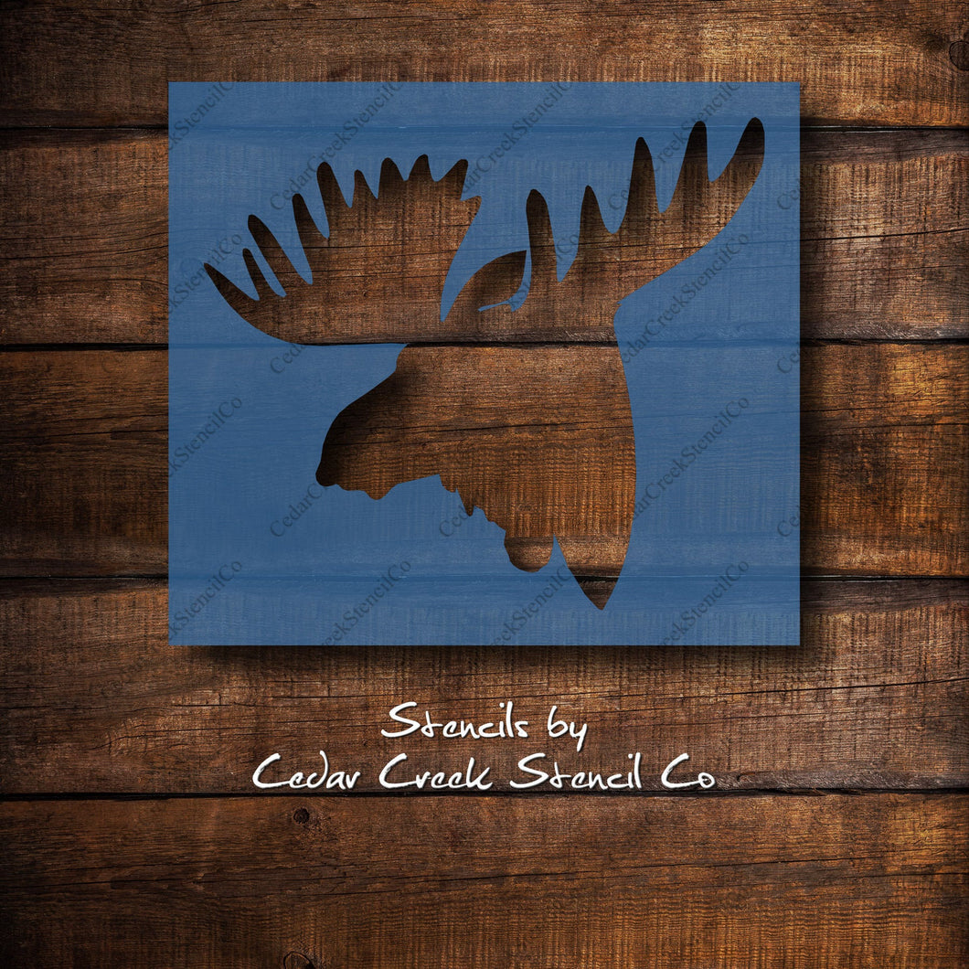 Moose Head Stencil, Moose Stencil, Hunting Stencil, Woodland Stencil, Animal Stencil, Craft Painting Stencil, Sign making stencil - Cedar Creek Stencil Co.