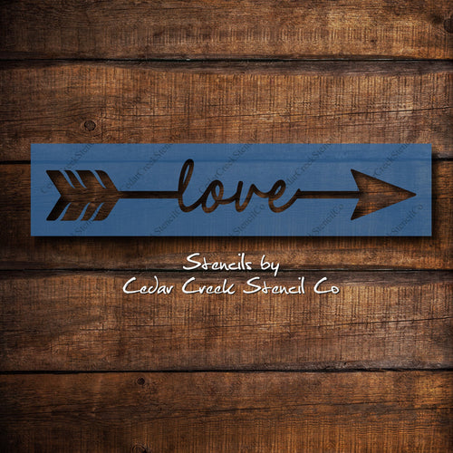 Love Arrow Stencil, Word Arrow Stencil, Word Stencil, Arrow Stencil, Reusable Stencil, Sign Making Stencil, mylar stencils, Chalk Stencil - Cedar Creek Stencil Co.