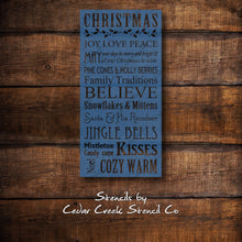 Load image into Gallery viewer, Christmas Stencil, Christmas Typography Stencil, Word Stencil, Christmas words stencil, reusable stencil, craft stencil, wood sign stencil - Cedar Creek Stencil Co.