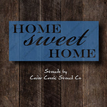 Load image into Gallery viewer, Home sweet home stencil, Word stencil, Reusable craft stencil, pillow stencil, wall stencil, sign stencil, paint stencil, home decor DIY - Cedar Creek Stencil Co.