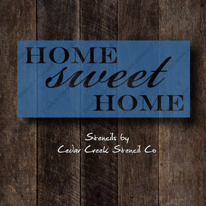 Home sweet home stencil, Word stencil, Reusable craft stencil, pillow stencil, wall stencil, sign stencil, paint stencil, home decor DIY - Cedar Creek Stencil Co.