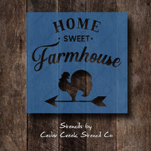 Load image into Gallery viewer, Farmhouse stencil, Home sweet farmhouse stencil, reusable craft stencil for sign making, primitive stencil, country stencil, rooster stencil - Cedar Creek Stencil Co.