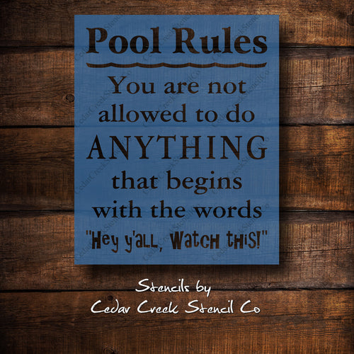 Pool Rules Stencil, Reusable mylar stencil, Summer Stencil, Pool stencil, funny stencil, craft stencil for sign making - Cedar Creek Stencil Co.