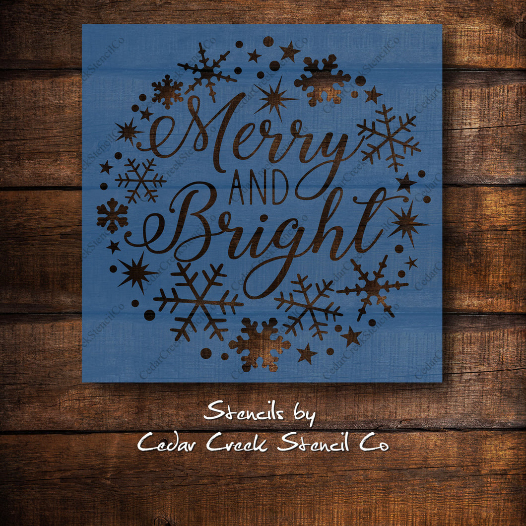 Merry and Bright Snowflake Wreath Stencil, reusable stencil, sign making craft stencil, paint stencil, Christmas Stencil, Holiday stencil - Cedar Creek Stencil Co.