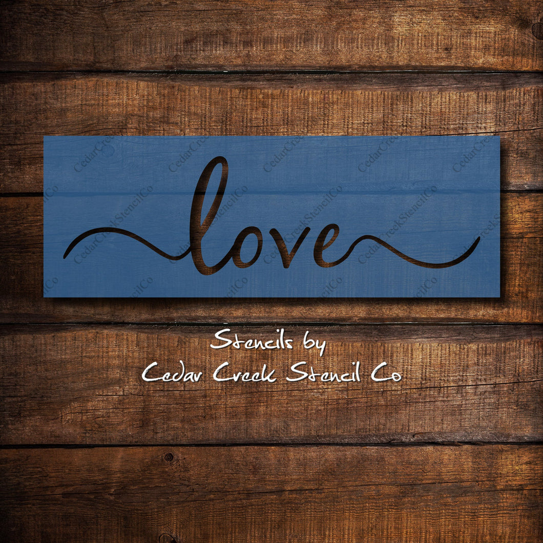 Love word stencil, resuable stencil, sign making stencil, craft stencil, 7mil mylar stencil, script love word paint stencil - Cedar Creek Stencil Co.