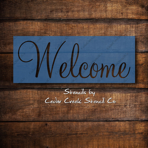 Welcome Stencil, Word Stencil, Reusable Stencil, DIY Sign making stencil, Paint stencil, Craft Stencil, Welcome Sign Stencil, DIY home decor - Cedar Creek Stencil Co.