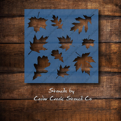 Leaves stencil, reusable fall autumn stencil, Thanksgiving craft stencil, DIY sign making paint stencil, Leaf stencil,  maple and  oak leaf - Cedar Creek Stencil Co.