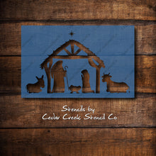 Load image into Gallery viewer, Nativity Scene Stencil, Christmas Stencil, Nativity Stencil, Reusable Mylar Stencil, Craft Stencil, Sign making stencil, DIY Decor stencil - Cedar Creek Stencil Co.