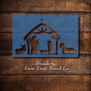 Nativity Scene Stencil, Christmas Stencil, Nativity Stencil, Reusable Mylar Stencil, Craft Stencil, Sign making stencil, DIY Decor stencil - Cedar Creek Stencil Co.